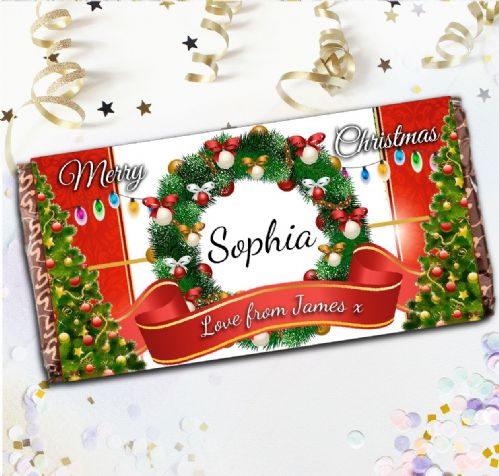 Personalised Merry Christmas Milk Chocolate Bar - Xmas Eve Stocking Filler Gift N116